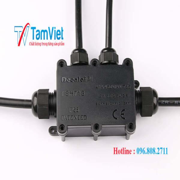 Hộp nối chống thấm nước hộp nối IP68 dưới nước hệ thống dây điện màu đen một thành ba ra ngoài trời với thiết bị đầu cuối